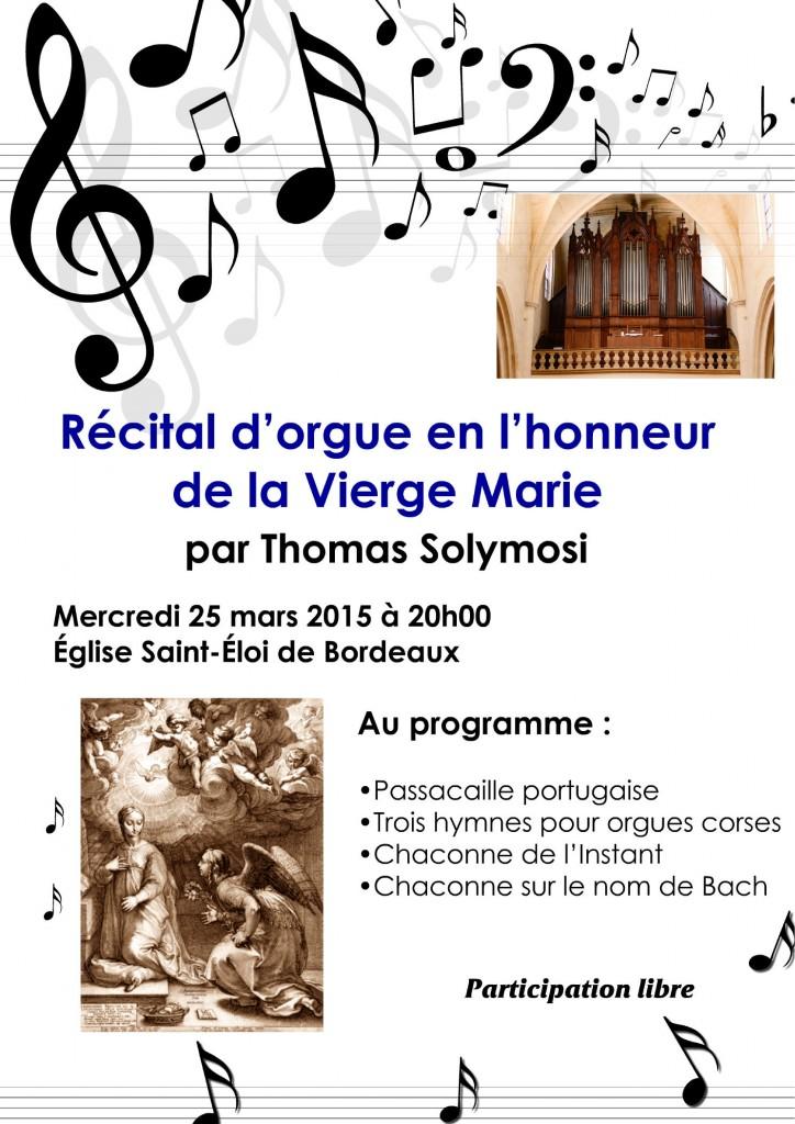 Récital d'orgue en l'honneur de la Vierge Marie